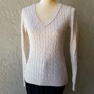 Ann Taylor Loft Cable Knit Sweater Cream V-Neck